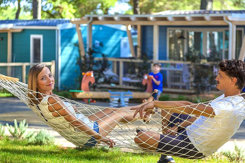 Panoramic view of the camping with mobile homes